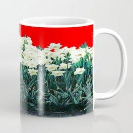 Red Whites Daffodils/Narcisus Spring Blue-Green Garden Coffee Mug