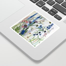 Wildflower in Garden Watercolor Flower Illustration Painting Sticker