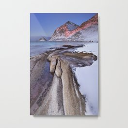 Beach and mountains on the Lofoten in Norway in winter Metal Print