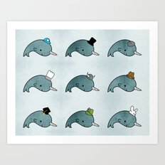 The many hats of Narwhals Art Print