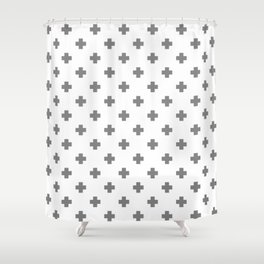 Light Grey Swiss Cross Pattern Shower Curtain