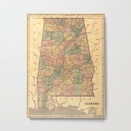 Vintage Map of Alabama (1848) Metal Print