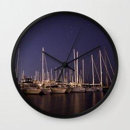 Sailboats Docked Under The Stars Wall Clock
