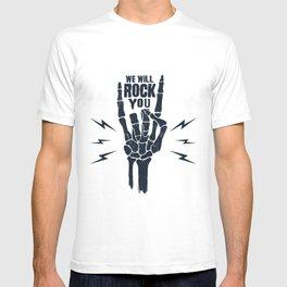 Funny Illustration. Skeleton Arm. We Will Rock You T-shirt