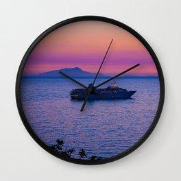 Cruise Ship at dusk Wall Clock