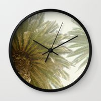 palm trees Wall Clocks featuring Palm Trees by The ShutterbugEye