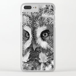 AnimalArtBW_Owl_20170601_by_JAMColorsSpecial Clear iPhone Case