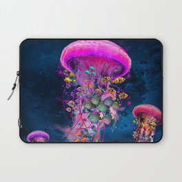 Floating Electric Jellyfish Worlds Laptop Sleeve