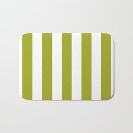 Citron green -  solid color - white vertical lines pattern Bath Mat