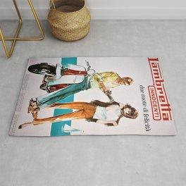 1963 Lambretta Innocenti Motor Scooter Advertisement Poster Rug