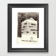 Building at Night with the Moon Framed Art Print