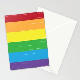 LGBT grunge rainbow Pride flag white Stationery Cards