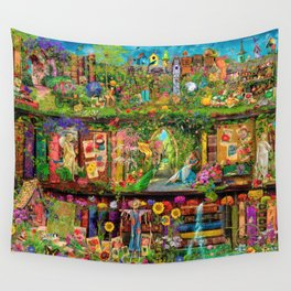 The Secret Garden Book Shelf Wall Tapestry