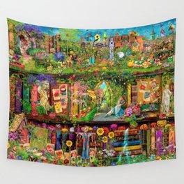 The Secret Garden Book Shelf Wall Tapestry