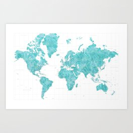 Highly detailed watercolor world map in aquamarine Art Print
