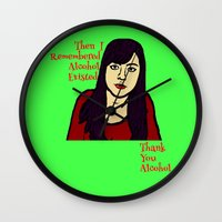 alcohol Wall Clocks featuring Parks April Thanks Alcohol by Rachcox