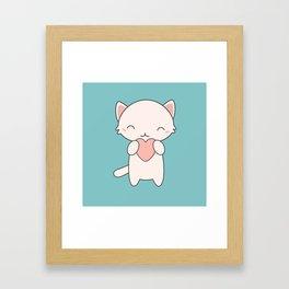 Kawaii Cute Cat With Hearts Framed Art Print
