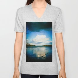 Cloudy Möhne Reservoir Lake bright Unisex V-Neck