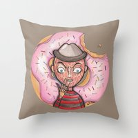 doughnut Throw Pillows featuring Freddy Doughnut by ajd.abelita
