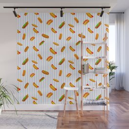 Hot Dog Pattern With Pinstripes Wall Mural