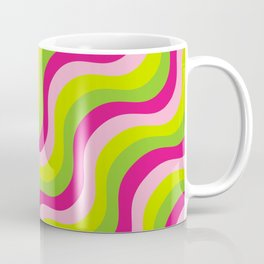 Pink green neon bright waves Coffee Mug