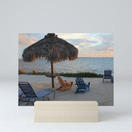 Thatch Umbrella at Sunset Mini Art Print