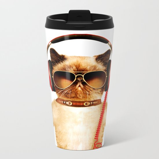 Chill Cat Metal Travel Mug