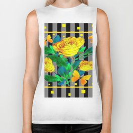 YELLOW SPRING ROSES & BUTTERFLIES WITH YELLOW SQUARES Biker Tank