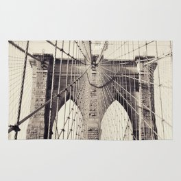 Brooklyn bridge, New York city, black & white photography, wall decoration, home decor, nyc fine art Rug