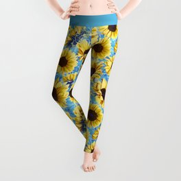 Dreamy Sunflowers on Blue Leggings