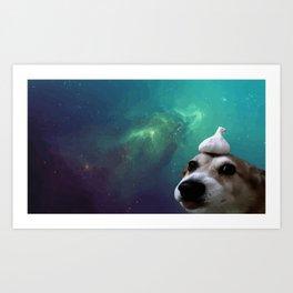 Dog, Garlic & Space Art Print