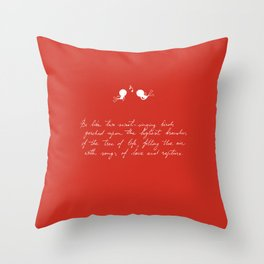 Be Like Two Sweet-Singing Birds [Red] Throw Pillow