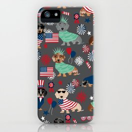 Dachshund july 4th patriotic dog breed pattern doxie dachsie lovers america iPhone Case