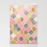 bedding Stationery Cards featuring Silver Grey, Soft Pink, Wood & Gold Moroccan Pattern by micklyn