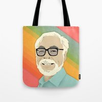 hayao miyazaki Tote Bags featuring Miyazaki by Perry Misloski