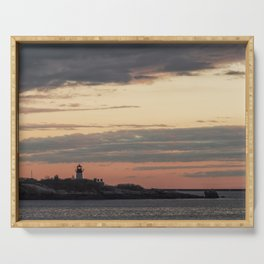 Painted sky over ten pound island light Serving Tray