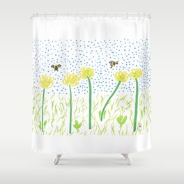 Honey Bees Love Flowers Shower Curtain