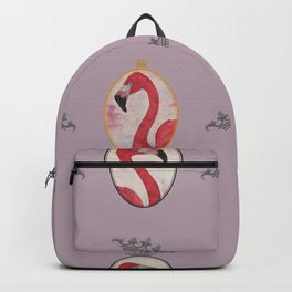 the royal pink flamingo king and queen pattern in purpl Backpack