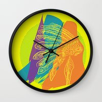 headdress Wall Clocks featuring Headdress  by kpatron