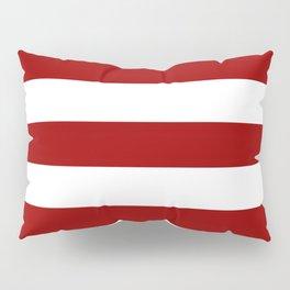 Crimson red - solid color - white stripes pattern Pillow Sham
