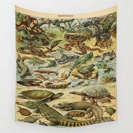 Reptiles Vintage Scientific Illustration French Language Encyclopedia Lithographs Educational Diagra Wall Tapestry