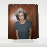 one direction Shower Curtains featuring One Direction by behindthenoise