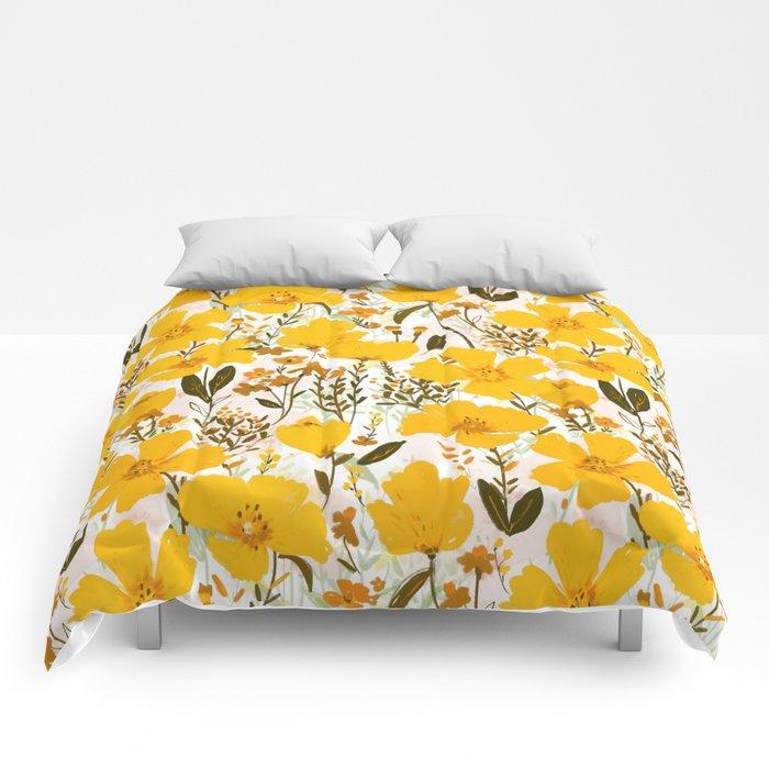 Yellow roaming wildflowers Comforters