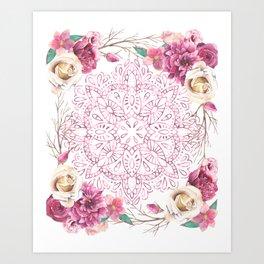 Mandala Rose Garden Pink on White Art Print