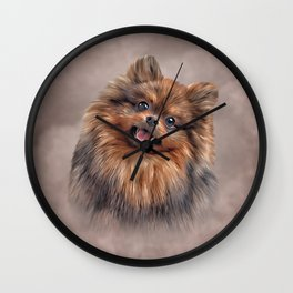 Drawing Dog Pomeranian Spitz Wall Clock