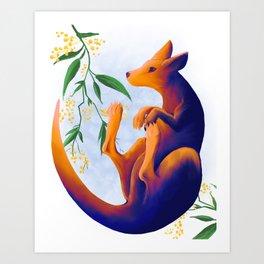 Sunrise Kangaroo Art Print