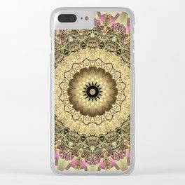 Vintage Gold Pink Mandala Design Clear iPhone Case