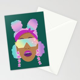 Top Puffs Girl #naturalhair #rainbowhair #shades #lipstick #blackunicorn #curlygirl Stationery Cards