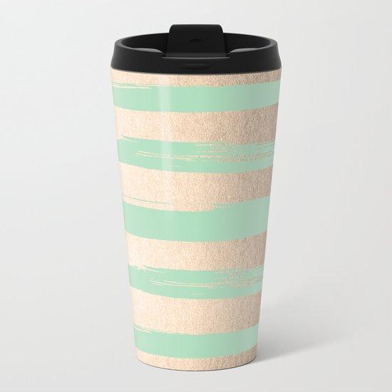 Painted Stripes Gold Tropical Ocean Green Metal Travel Mug