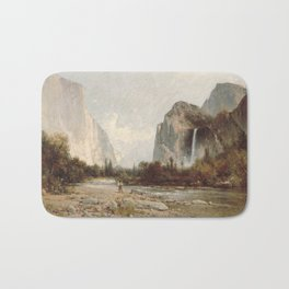 Bridal Veil Falls. Yosemite Valley by Thomas Hill 2 Bath Mat